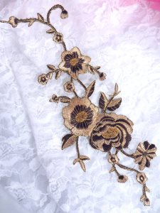 GB158 Light Brown Gold Metallic Rose Embroidered Applique Iron On Patch 10""