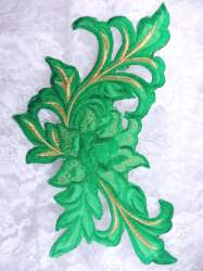 GB159 Floral Rose Green Gold Metallic Embroidered Flower Applique Iron On Patch 9""