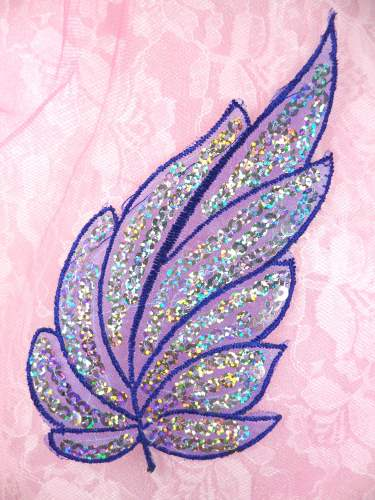 GB163 Blue Embroidered Silver Seqiun Holographic Leaf Applique 6.25""