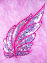 """GB163 Fuchsia Embroidered Silver Seqiun Leaf Applique 6.25"""""""