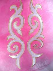 GB166 Embroidered Appliques Mirror Pair White Gold Metallic Iron On Patch 9.25""