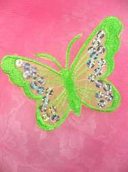 GB167 Lime Embroidered Butterfly Silver Holographic Seqiun Applique 3""