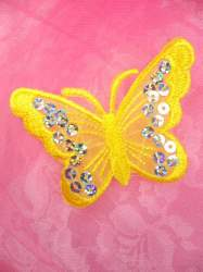 GB167 Yellow Embroidered Butterfly Silver Holographic Seqiun Applique 3""