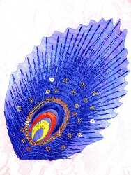 GB168 Feather Embroidery Applique Blue Gold Sequined Patch 4""