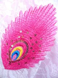 GB168 Feather Embroidery Applique Fuchsia Gold Sequined Patch 4""