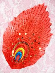 GB168 Feather Embroidery Applique Red Gold Sequined Patch 4""