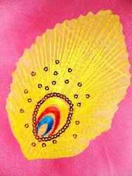 GB168 Feather Embroidery Applique Yellow Gold Sequined Patch 4""