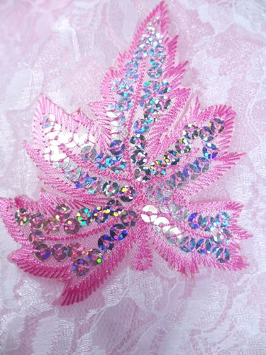 GB174 Pink Embroidered Silver Holographic Seqiun Leaf Applique 4""