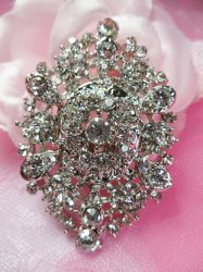 GB218 Bridal Rhinestone Brooch Pin Vintage Silver Crystal Glass 2.5""