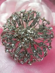 GB221 Bridal Rhinestone Brooch Pin Vintage Silver Crystal Glass 2""