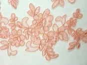 "Embroidered Lace Appliques Peachy Pink Mirror Pair Floral 10"" (GB222X)"