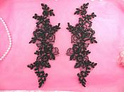 "Embroidered Lace Appliques Black Mirror Pair Floral 10"" (GB222X-bk)"