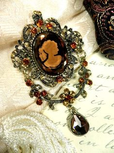 GB24 Cameo Brooch Rhinestone Dangle Victorian Amber Glory