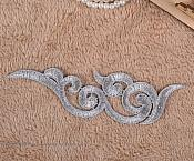 """Embroidered Appliques Grey Scroll Design Mirror Pair Motifs Patch 6.75"""" (GB249X)"""