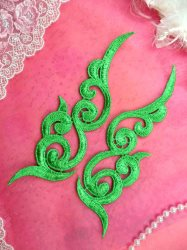 GB249 Embroidered Appliques Green Scroll Design Mirror Pair 6.75""