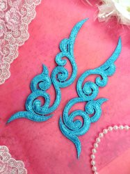 GB249 Embroidered Appliques Turquoise Scroll Design Mirror Pair 6.75""