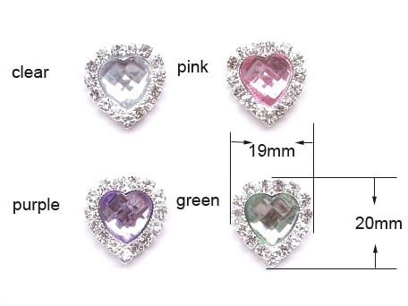 GB26 Bridal Invitation Rhinestone Heart Applique Embellishment 5 Colors Available
