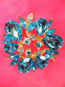 GB260 Turquoise Glass Rhinestone Brooch Pin Gold 2""