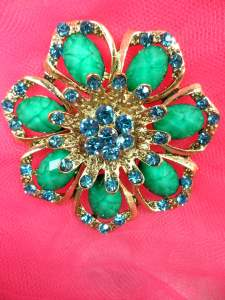 GB262 Turquoise Glass Rhinestone Brooch Pin Gold 2.5""