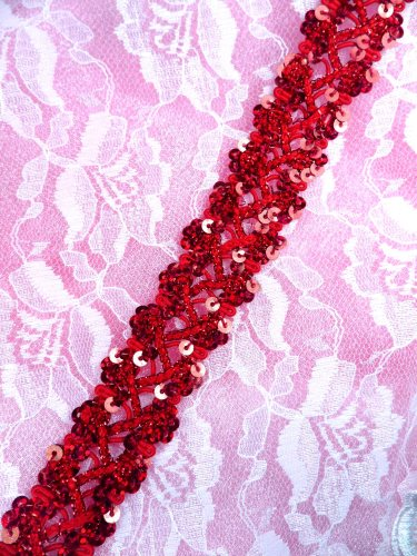 GB267 Red Holographic Sequin Sewing CraftsTrim 1""