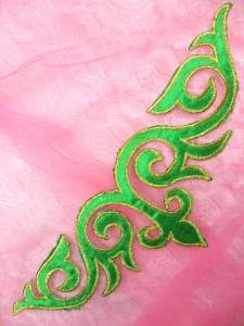 GB276 Green Gold Embroidered Applique Iron On Patch 9.5""