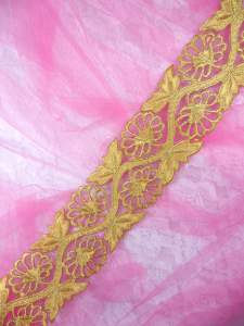 GB278 Embroidered Trim Gold Floral Metallic Iron On 2""