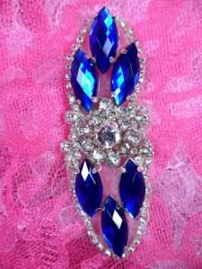 "GB282 Blue Marquise Crystal Rhinestone Applique Embellishment 3.25"""