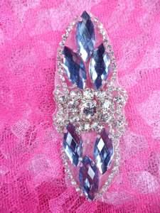 "GB282 Denim Marquise Crystal Rhinestone Applique Embellishment 3.25"""