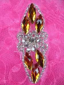 "GB282 Gold Marquise Crystal Rhinestone Applique Embellishment 3.25"""