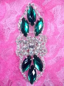 "GB282 Green Marquise Crystal Rhinestone Applique Embellishment 3.25"""