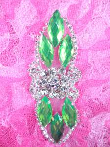 GB282 Lime Green Marquise Crystal Rhinestone Applique Embellishment 3.25""