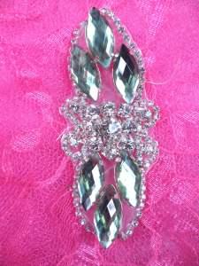 "GB282 Light Green Marquise Crystal Rhinestone Applique Embellishment 3.25"""