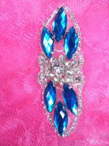 GB282 Turquoise Marquise Crystal Rhinestone Applique Embellishment 3.25""