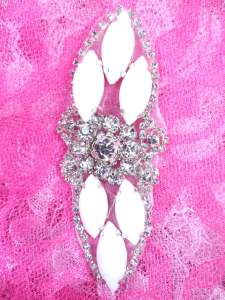 "GB282 White Marquise Crystal Rhinestone Applique Embellishment 3.25"""