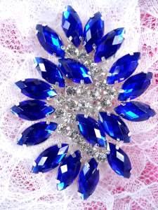 """GB283 Blue Marquise Swirl Crystal Rhinestone Applique Embellishment 2.5"""""""