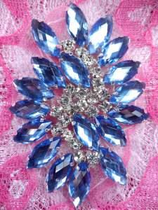 """GB283 Denim Marquise Swirl Crystal Rhinestone Applique Embellishment 2.5"""""""