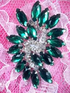 """GB283 Green Marquise Swirl Crystal Rhinestone Applique Embellishment 2.5"""""""