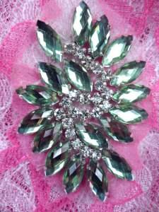 "GB283 Light Green Marquise Swirl Crystal Rhinestone Applique Embellishment 2.5"""