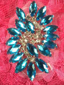 GB283 Turquoise Marquise Swirl Crystal Rhinestone Applique Embellishment 2.5""