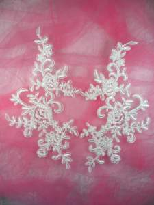 GB286 White Floral Venise Lace Mirror Pair Appliques 9.5""