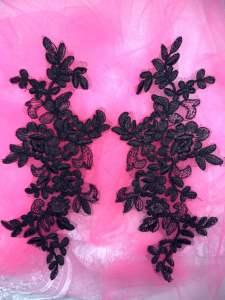 """BL78 Black Floral Venise Lace Mirror Pair Appliques 10.5"""""""
