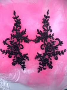 """BL77 Black Floral Venise Lace Mirror Pair Appliques 10"""""""