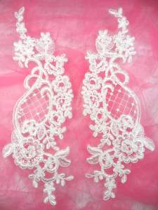 GB292 White Floral Venise Lace Mirror Pair Appliques 10.5""