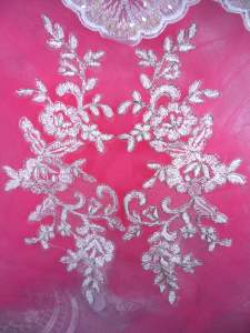GB293 White Floral Venise Lace Mirror Pair Metallic Silver Appliques 8.5""