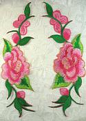"""Pink Gold Embroidered Rose Floral Mirror Pair Appliques DIY Home Decor 8"""" (GB295X)"""