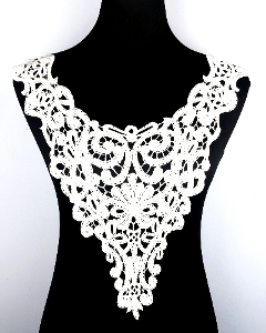 GB300 Antique White Venise Lace Victorian Yoke Collar Applique 15""
