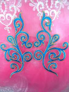 GB304 Embroidered Appliques Mirror Pair Turquoise Metallic Gold Iron On Patch 7""