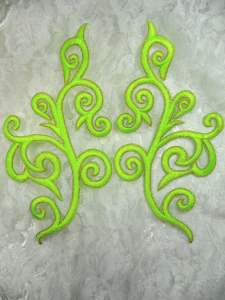 GB304 Embroidered Appliques Mirror Pair Neon Green Gold Metallic Iron On Patch 7""