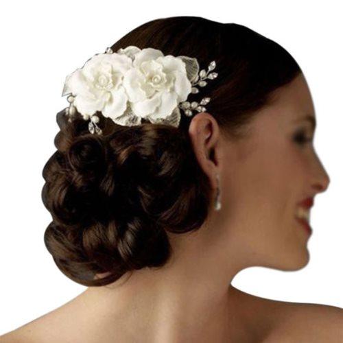 GB305 Pearl Rhinestone Ivory Floral Bridal Headpiece