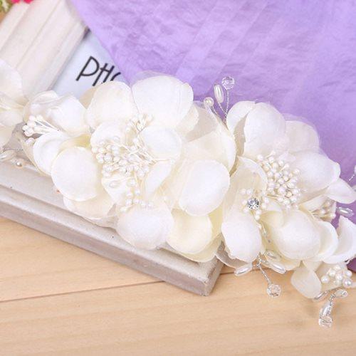 GB305 Ivory w/ Pearl Rhinestone Floral Bridal Sash Headpiece